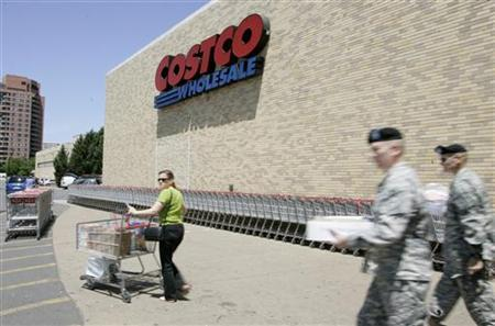 Shoppers walk out of Costco Warehouse in Arlington, Virginia in this May 29, 2008 file photo. REUTERS/Molly Riley