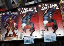 <p>Copies of the Captain America comic book are displayed at a store in New York in this file photo from March 7, 2007.REUTERS/Shannon Stapleton</p>
