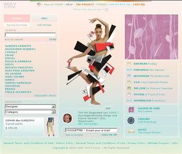 The homepage of online fashion retailer Yoox in an image courtesy of the company. REUTERS/Handout