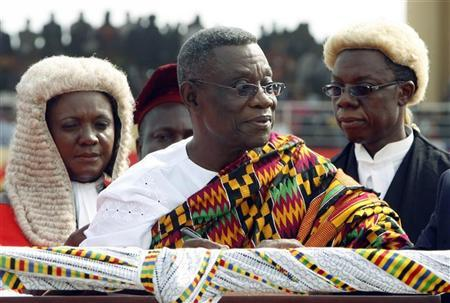 Ghana's President John Atta Mills speaks during his inauguration at the independence square in Accra, January 7, 2009. REUTERS/Luc Gnago