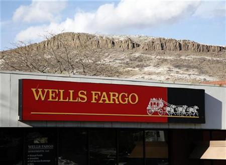A Wells Fargo bank branch is framed by North Table Mountain in Golden, Colorado January 28, 2009. REUTERS/Rick Wilking