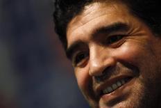<p>Diego Maradona, técnico da seleção Argentina de futebol, em conferência, em Buenos Aires. 23/02/2009. REUTERS/Marcos Brindicci</p>
