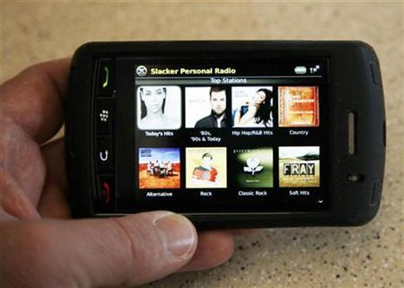 A Blackberry Storm smartphone by Research in Motion (RIM) displays the Slacker Personal Radio application in Golden, Colorado February 11, 2009. REUTERS/Rick Wilking