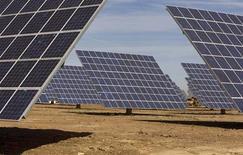 <p>Les groupes japonais Toshiba et Sharp envisageraient une collaboration dans l'énergie solaire, un marché en plein développement. Selon le quotidien Asahi, Toshiba fournirait les systèmes de distribution électrique et Sharp les panneaux solaires pour faire face à une demande croissante, en particulier dans les usines, dans l'immobilier commercial et les administrations. /Photo d'archives/REUTERS/Jose Manuel Ribeiro</p>