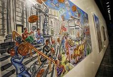 <p>Una obra del pintor estadounidense Peter Zonis exhibida en Nueva York, 30 mar 2009. Durante gran parte de la última década, el artista callejero neoyorquino Peter Zonis ha vendido sus pasteles al óleo a los ricos y famosos desde una calle a las afueras de Barneys, una tienda de departamentos ubicada en la famosa avenida Madison. Pero su salto a la fama puede que llegue con la crisis financiera. REUTERS/Shannon Stapleton</p>