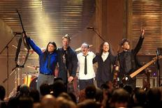 <p>Metallica band members acknowledge the crowd after performing at the Rock and Roll Hall of Fame 2009 at the induction ceremonies in Cleveland, Ohio April 4, 2009.REUTERS/Aaron Josefczyk</p>