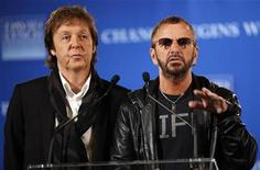 <p>Former Beatles Paul McCartney (L) and Ringo Starr, speak at a news conference where David Lynch's foundation announced an initiative to teach one million at-risk youth to meditate, in New York, April 3, 2009. REUTERS/Chip East</p>