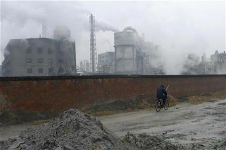 A resident rides a bicycle past a chemical factory in China in this February 25, 2009 file photo. REUTERS/Stringer (CHINA).