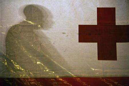 A would-be immigrant casts his shadow on a Red Cross tent upon arriving at Arguineguin port in the Canary Islands of Gran Canaria early December 7, 2008. REUTERS/Borja Suarez