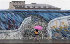 <p>Женщина проходит мимо сохранившегося участка Берлинской стены 23 марта 2009 года. Художники приступили к реставрации рисунков на сохранившейся части Берлинской стены, появившихся после падения ненавистного символа холодной войны почти 20 лет назад. REUTERS/Tobias Schwarz</p>