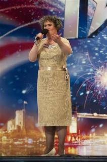 Scottish singer Susan Boyle is seen performing during a rehearsal of ''Britain's Got Talent'', in Glasgow, Scotland, in this undated handout photograph received in London on April 20, 2009. REUTERS/Ken McKay/talkbackTHAMES/Handout