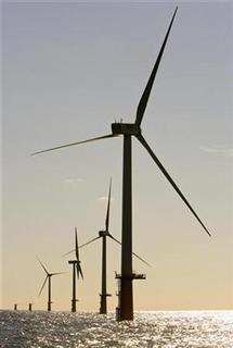Wind turbines are seen in a wind park 23 km (14 miles) off the coast of Ijmuiden September 3, 2007. REUTERS/ Michael Kooren