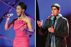 "<p>""American Idol"" contestants Lil Rounds (L) and Anoop Desai in a combination image. Two of the seven remaining finalists were sent home on Wednesday when fans cast the fewest votes for their performances during the hit talent show's disco-themed week. REUTERS/Fox/Handout</p>"