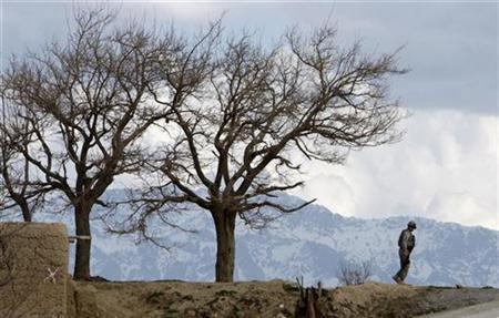 A U.S. soldier of the 3rd Platoon Cherokee Troop from the 3rd Brigade, 10th Mountain Division patrols in Logar province April 13, 2009. REUTERS/Ahmad Masood