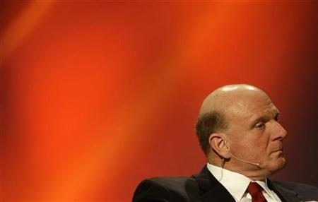 Microsoft Corporation Chief Executive Officer Steve Ballmer listens to questions during the news conference at the GSMA Mobile World Congress in Barcelona February 17, 2009. REUTERS/Gustau Nacarino