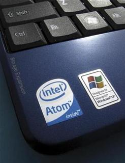 An Intel Atom sticker is shown next to a Windows XP sticker on an Acer Netbook in Encinitas, California April 13, 2009. REUTERS/Mike Blake
