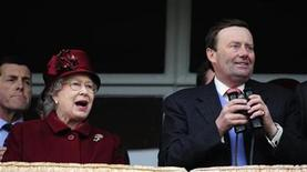 <p>Queen Elizabeth II reacts as she watches her horse 'Barber Shop' with trainer Nicky Henderson race in the Cheltenham Gold Cup on the final day of the Cheltenham Festival horse racing meeting in Gloucestershire, March 13, 2009. REUTERS/Dylan Martinez</p>