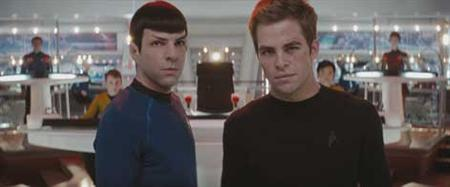 Spock (Zachary Quinto, left) and James T. Kirk (Chris Pine, right) in a scene from the new ''Star Trek'' film. REUTERS/Paramount Pictures/Handout