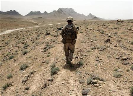 A U.S Marine patrols the Golestan district of Farah province, May 8, 2009. REUTERS/Goran Tomasevic
