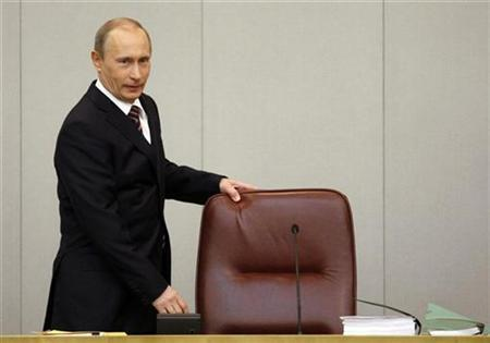 Russia's Prime Minister Vladimir Putin enters the hall for his first annual address to the parliament in Russia's State Duma in Moscow April 6, 2009. REUTERS/Denis Sinyakov