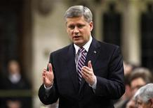 <p>Canada's Prime Minister Stephen Harper speaks during Question Period in the House of Commons on Parliament Hill in Ottawa May 4, 2009. REUTERS/Chris Wattie</p>