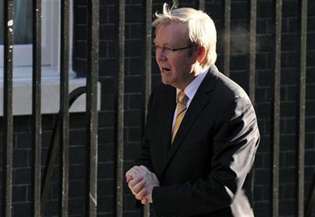 Australian Prime Minister Kevin Rudd arrives to meet his British counterpart Gordon Brown in Downing Street in London in this file photo from March 30, 2009. REUTERS/Andrew Parsons