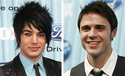 "<p>Performers Adam Lambert (L) and Kris Allen are seen in this cobination photo as they pose at the party for the 12 finalists of the television show ""American Idol"" in Los Angeles March 5, 2009. REUTERS/Mario Anzuoni</p>"