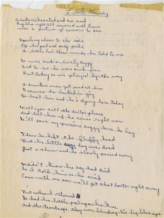 A hand-written poem believed at the time to be by a teenaged Bob Dylan and signed Bobby Zimmerman is seen in this undated handout photo from Christie's Auction House May 19, 2009. REUTERS/Handout