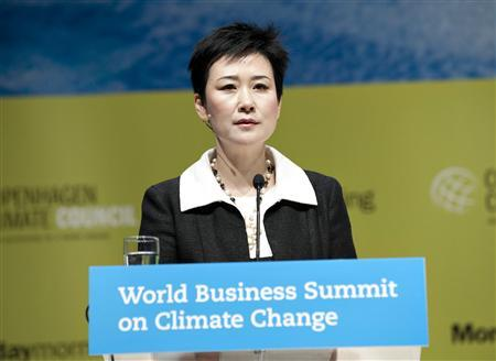 Li Xiaolin, Chairwoman and Chief Executive Officer, China Power International Development addresses the assembly at the World Business Summit on Climate Change in Copenhagen May 26, 2009. REUTERS/Keld Navntoft/Scanpix