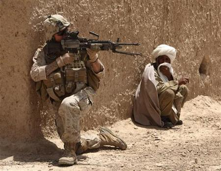 A local villager looks at a U.S. Marine during a patrol in a village in Golestan district of Farah province, May 11, 2009. REUTERS/Goran Tomasevic
