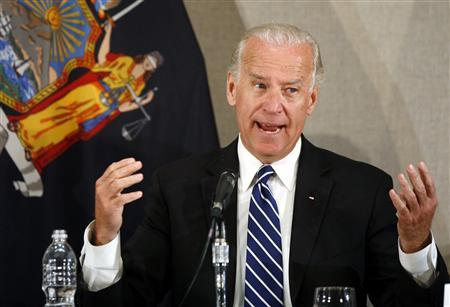 Vice President Joe Biden speaks during a Recovery Act roundtable at Pace University's Lubin School of Business in New York June 2, 2009. REUTERS/Shannon Stapleton