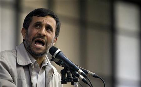 Iranian President Mahmoud Ahmadinejad speaks at a rally at Tehran's Azadi sports complex during his re-election campaign June 2, 2009. REUTERS/Caren Firouz