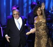<p>In this file photo singer Whitney Houston waves at the crowd next to Clive Davis at the conclusion of her performance at the 2009 Grammy Salute to Industry Icons event, honoring Davis in Beverly Hills, California February 7, 2009. Houston will release a new album in September, her first in seven years, Arista Records said on Thursday, announcing the long-awaited comeback for the talented but troubled star. REUTERS/Mario Anzuoni</p>