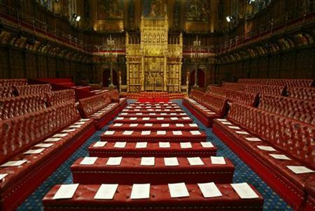 An empty House of Lords prior to the Queen delivering her speech at the State Opening of Parliament, London, November 13, 2002. REUTERS/Russell Boyce