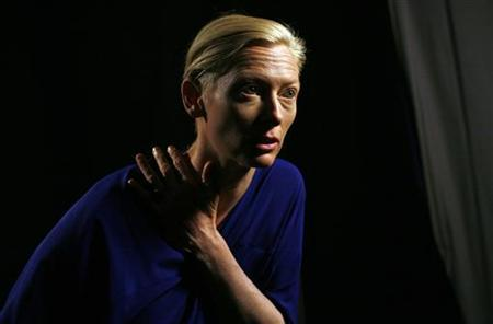 British actress Tilda Swinton speaks during an interview with Reuters in New York, April 29, 2009. REUTERS/Mike Segar