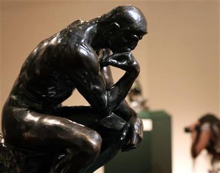 The Thinker, the most famous work of Auguste Rodin, is on display at the Sabanci Museum in Istanbul June 12, 2006. REUTERS/Fatih Saribas