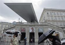 <p>Vienna's Albertina Museum is pictured during rainfall in Vienna June 24, 2009. The Albertina Museum, home to landmark Impressionist works by Monet and Renoir, will start removing 950,000 artworks from its leaking underground depot following some of Austria's heaviest downpours in 50 years. REUTERS/Heinz-Peter Bader</p>
