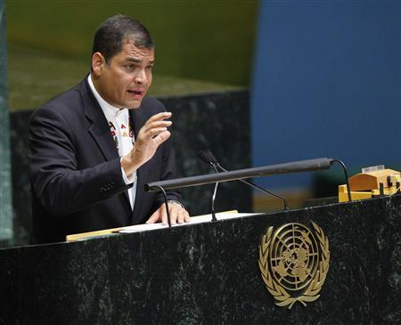 Rafael Correa Delgado, President of Ecuador, speaks at the Conference on the World Financial and Economic Crisis at United Nations headquarters, in New York, June 25, 2009. REUTERS/Chip East