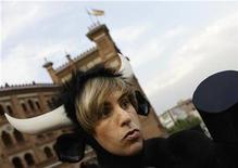 "<p>British actor Sacha Baron Cohen, dressed as a bull, attends the Spanish premiere of his film ""Bruno"" outside Madrid's Las Ventas bullring June 18, 2009. REUTERS/Juan Medina )</p>"