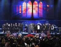 <p>The Andrae Crouch Singers open the memorial service for Michael Jackson at the Staples Center in Los Angeles, July 7, 2009. REUTERS/Mark J. Terrill/Pool</p>