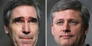 <p>A combination picture showing Liberal leader Michael Ignatieff (L) and Canada's Prime Minister Stephen Harper during separate news conferences on Parliament Hill in Ottawa June 17, 2009. REUTERS/Chris Wattie</p>