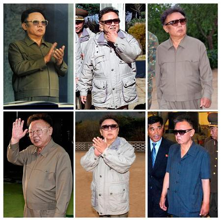 Combination photograph showing North Korean leader Kim Jong-il from 2004 to 2009. Top row (L-R) A portrait of North Korean leader Kim Jong-il is displayed at a hotel in the North Korean capital Pyongyang May 2, 2004. North Korean leader Kim Jong-il inspects Korean People's Army Unit 802 with officials, seen in this picture released by Korea News Service in Tokyo, November 12, 2005. North Korean leader Kim Jong-il (C) inspects Korean People's Army unit 1643 somewhere in North Korea August 28, 2006. BOTTOM ROW (L-R) North Korean leader Kim Jong-il waves to South Korean President Roh Moo-hyun after a farewell lunch in Pyongyang, the capital of North Korea, October 4, 2007. North Korean leader Kim Jong-il applauds as he inspects a sub-unit of the Korean People's Army unit 350 at an undisclosed location in North Korea in this undated picture taken by North Korea's official news agency KCNA and distributed by Korea News Service on April 5, 2008. North Korean leader Kim Jong-il (front R) visits the newly-built Taedonggang Tile Factory in Pyongyang in this picture released by North Korea's official news agency KCNA on July 14, 2009. REUTERS/KCNA/Pool/ Files