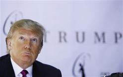 <p>Donald Trump, the owner of the Miss Universe Organization, listens during a news conference announcing that Miss California USA, Carrie Prejean, would retain her title in New York May 12, 2009. REUTERS/Lucas Jackson</p>