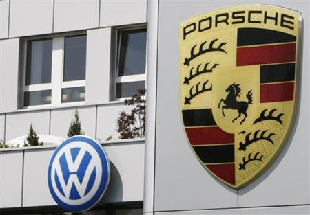 Volkswagen and Porsche logos are seen on the site of a automobile retail company in Zug May 19, 2009. REUTERS/Michael Buholzer