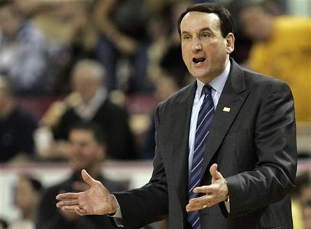 Duke University head coach Mike Krzyzewski argues a call in second half action against Boston College during their NCAA basketball game in Newton, Massachusetts February 15, 2009. REUTERS/Adam Hunger