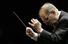 <p>Italian Academy award-winning music composer Ennio Morricone conducts during the Mawazine Festival in Rabat May 15, 2009. REUTERS/Rafael Marchante</p>