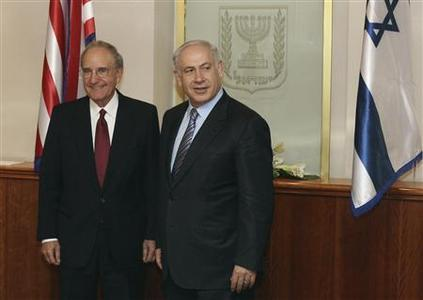 Israel's Prime Minister Benjamin Netanyahu (R) meets U.S. Middle East envoy George Mitchell in Jerusalem July 28, 2009. REUTERS/Dan Balilty/Pool