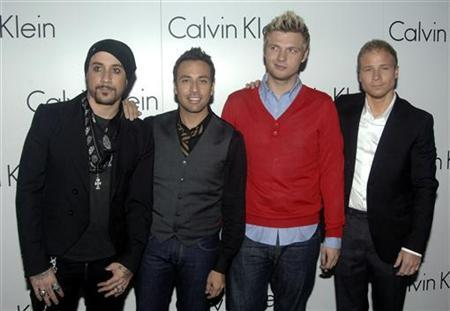 Members of American Group the Backstreet Boys (L to R) A.J. McLean, Howie Dorough, Nick Carter and Brian Littrell pose at the ''Calvin Klein party'' in London October 15, 2007. Reuters/Anthony Harvey