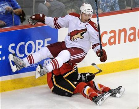 In this file photo Phoenix Coyotes Shane Doan (top) falls on Calgary Flames Rhett Warrener during third period exhibition National Hockey League action in Winnipeg, September 24, 2008. REUTERS/Fred Greenslade