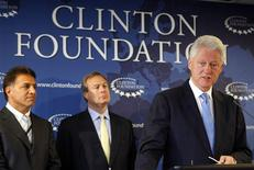 <p>Former President Bill Clinton (R) speaks at a news conference with Robert J. Coury, Chairman and Chief Executive of Mylan (L) and Jeffrey B. Kindler, Chairman and Chief Executive of Pfizer (C), in New York, August 6, 2009. REUTERS/Chip East</p>